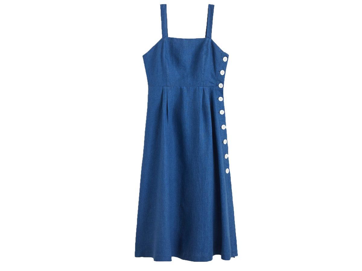 Nibieska sukienka z guzikami Mango