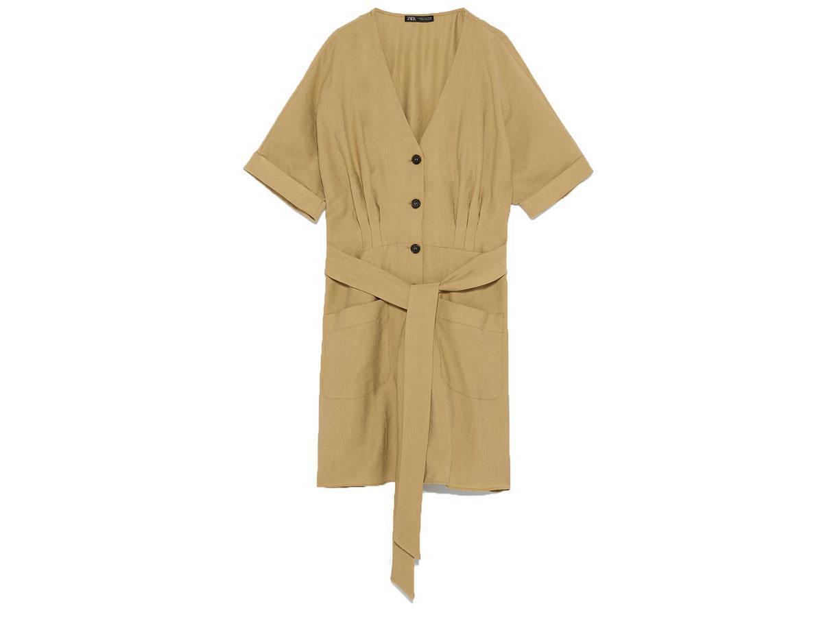 Karmelowa sukienka z guzikami Zara