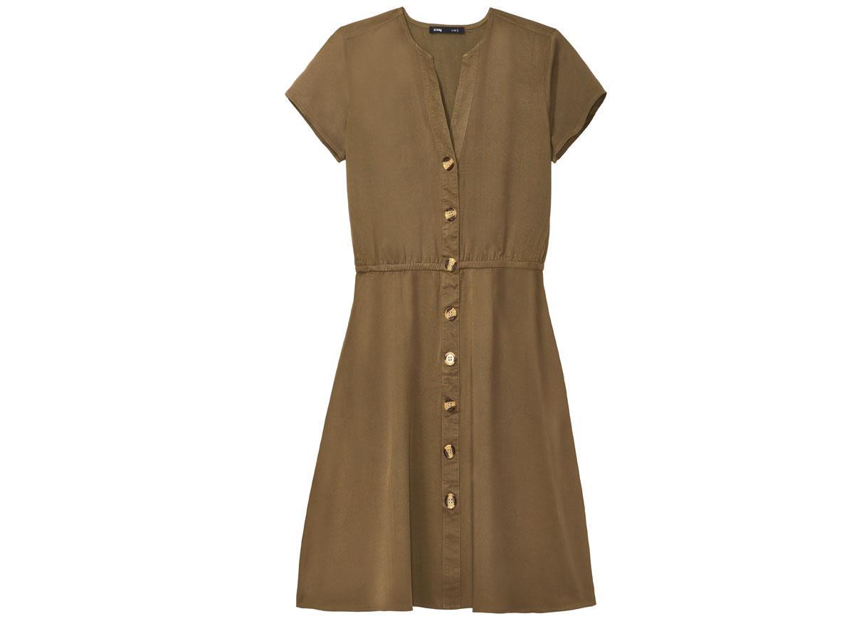 Krótka khaki sukienka z guzikami Sinsay