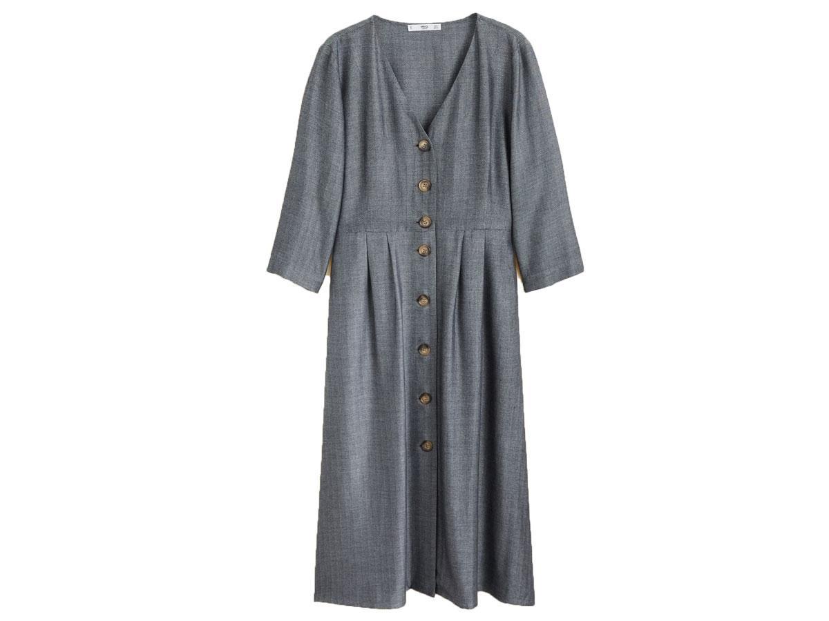 Szara sukienka z guzikami Mango
