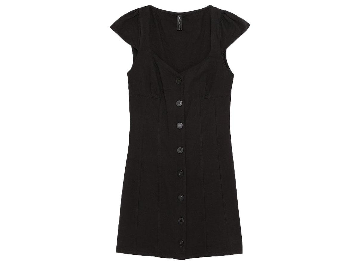 Czarna sukienka z guzikami Zara