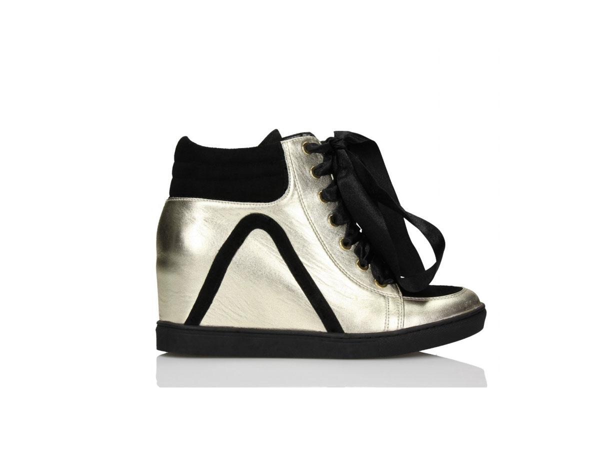 Srebrne sneakersy na koturnie, Baldowski, cena ok. 390,00 zł