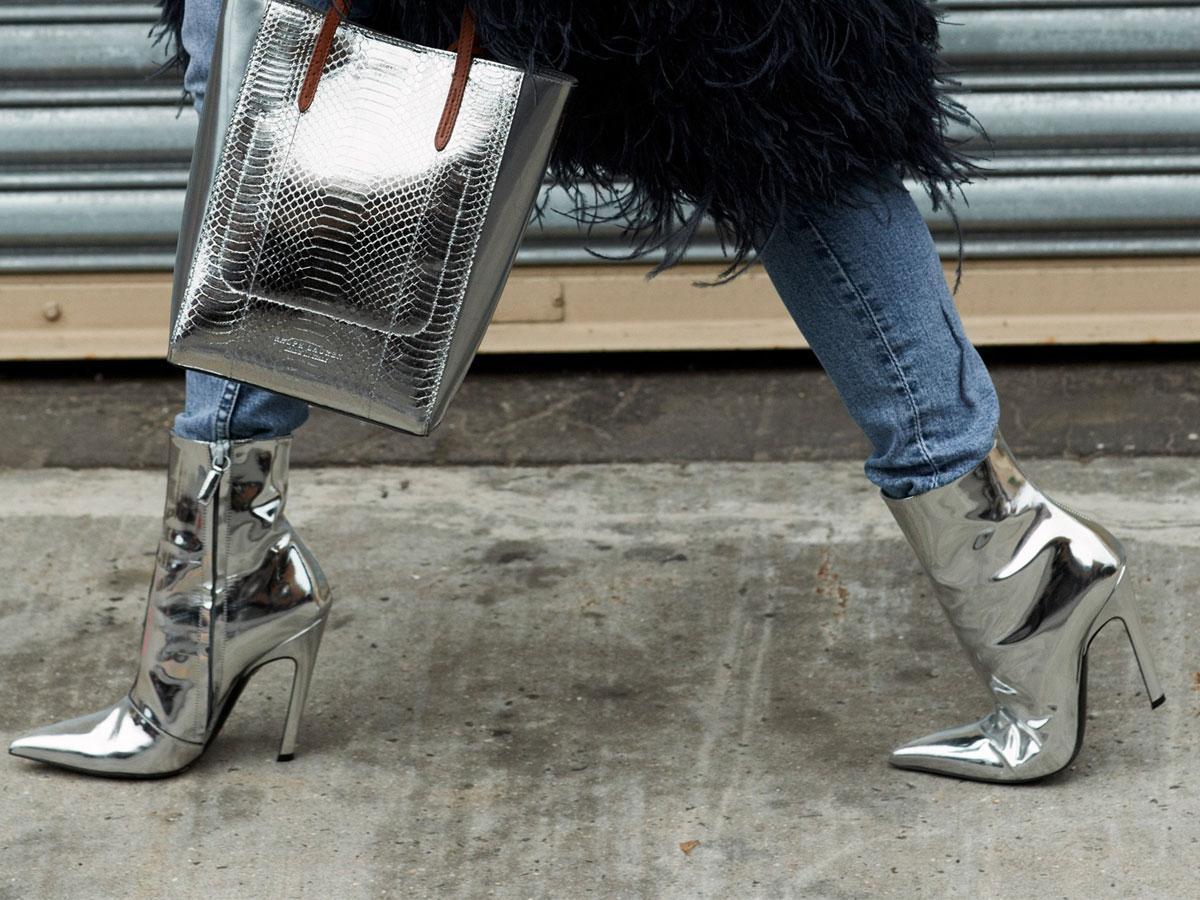 Metaliczne buty na zimę 2019