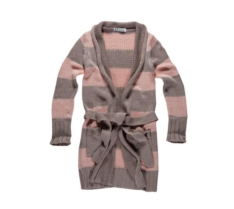 brązowy sweter Big Star w pasy wiązany - trendy wiosna-lato