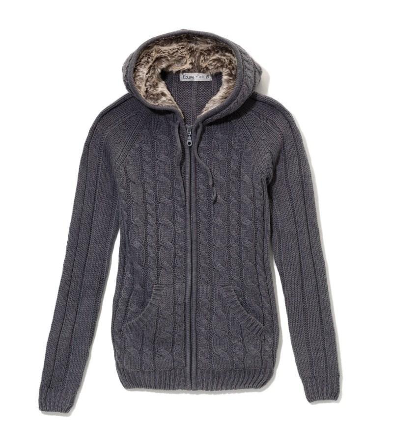 popielaty sweter House z kapturem - jesień-zima 2010/2011