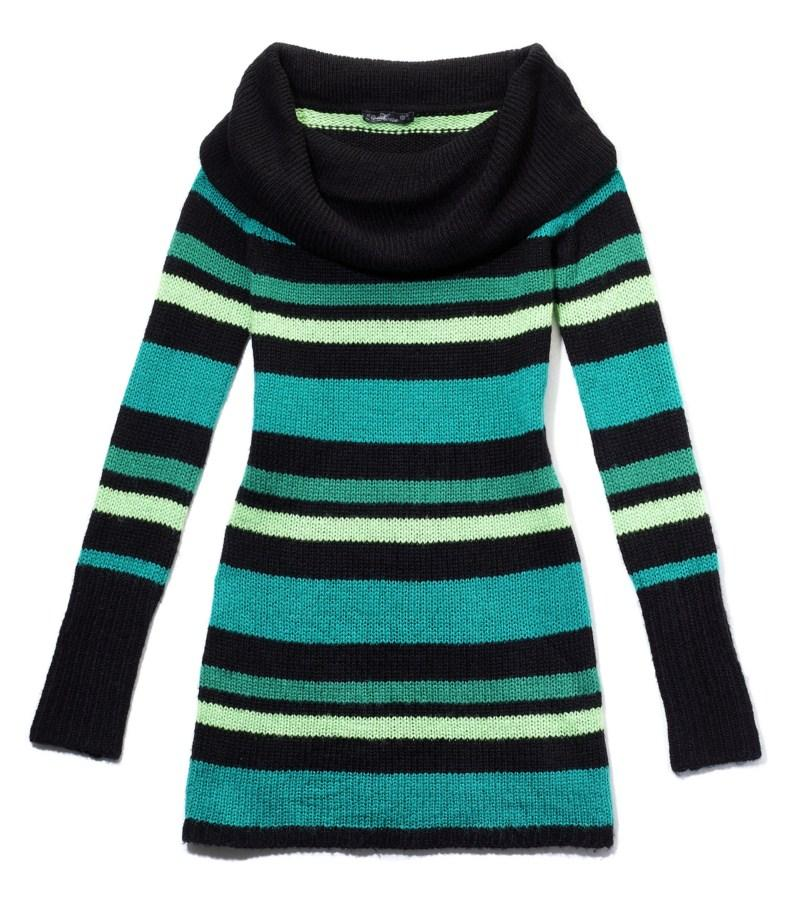 turkusowy sweter House w pasy - jesień-zima 2010/2011