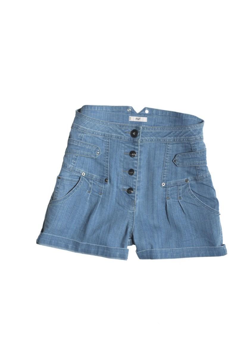 niebieskie szorty F&F z wysokim stanem - kolekcja letnia