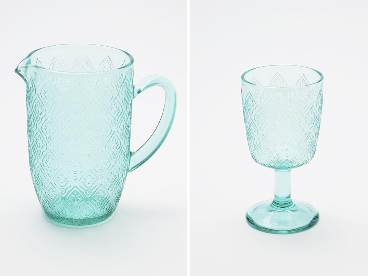 naczynia szklane turkusowe
