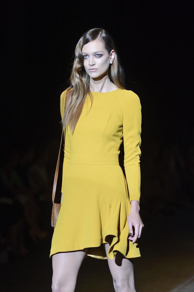sukienka Paprocki & Brzozowski w kolorze musztardowym - jesień 2013