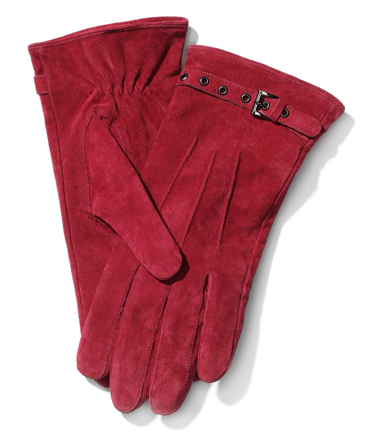 bordowe rękawiczki Mohito z zamszu - zima 2011/2012