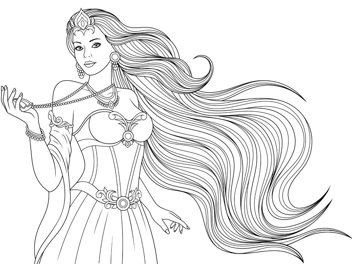 Kolorowanka księżniczka z długimi włosami