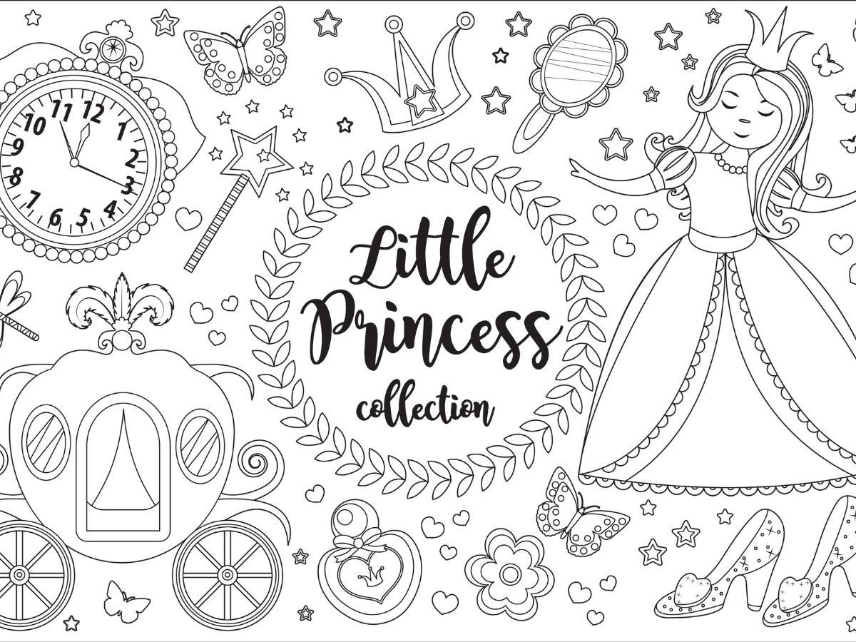 Kolorowanka księżniczka i jej akcesoria