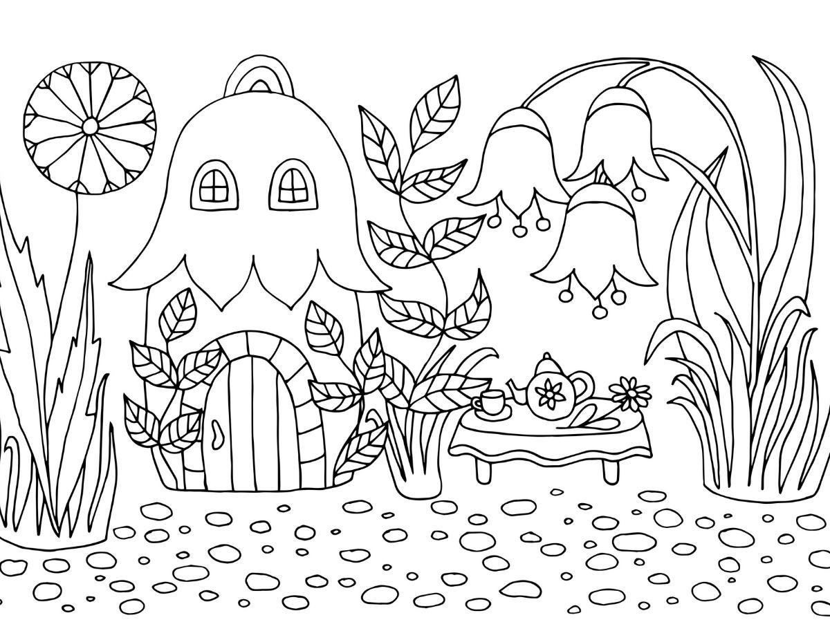 Kolorowanka leśna chatka