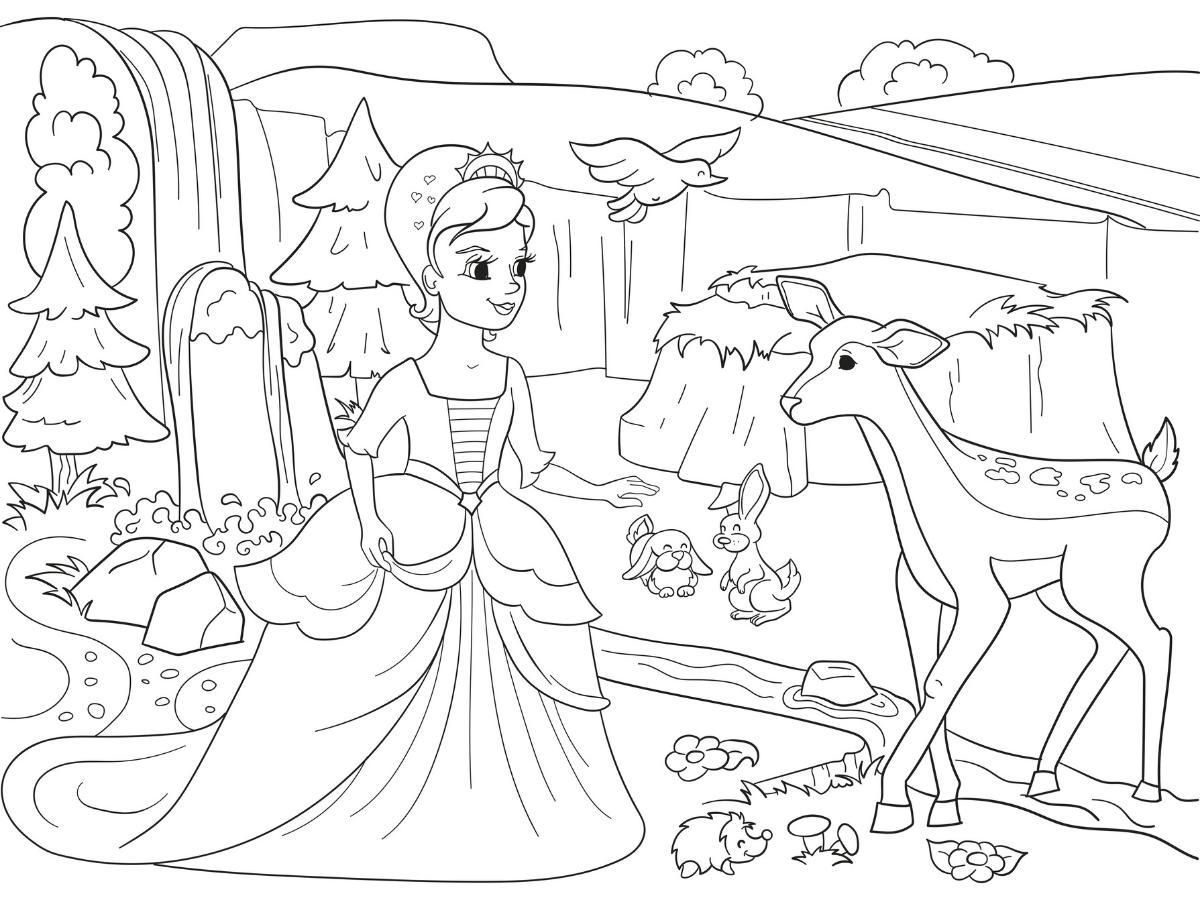 Kolorowanka księżniczka i zwierzęta