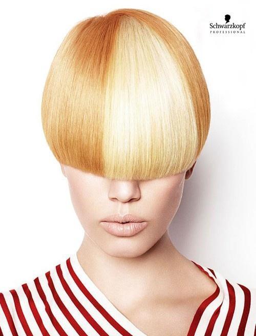 Geometryczna blond fryzura