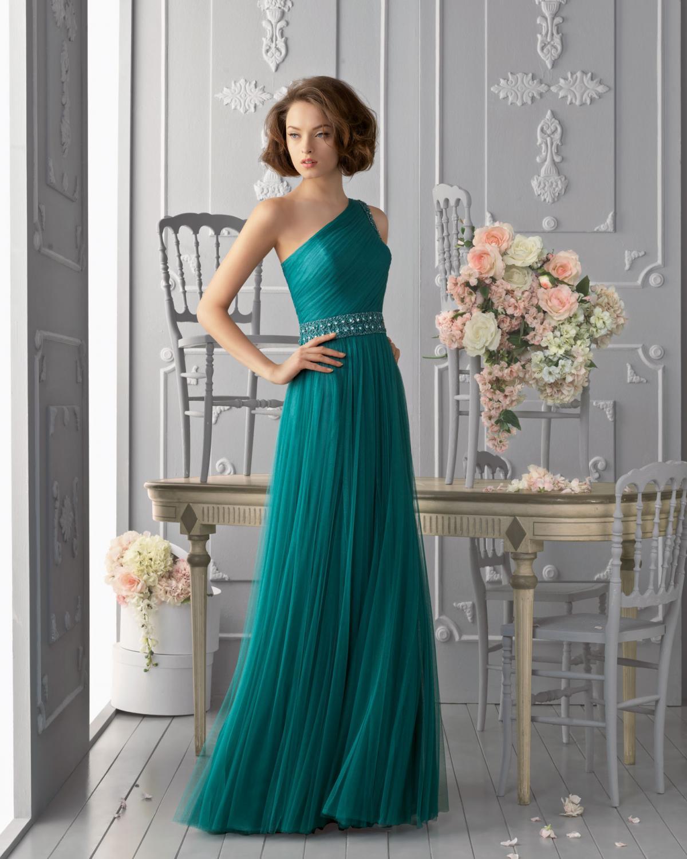 7fbe2f6421 Kolorowe suknie ślubne Aire Barcelona. zielona suknia Aire Barcelona na jedno  ramię