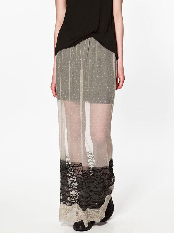 czarna spódnica ZARA koronkowa - z kolekcji wiosna-lato 2012