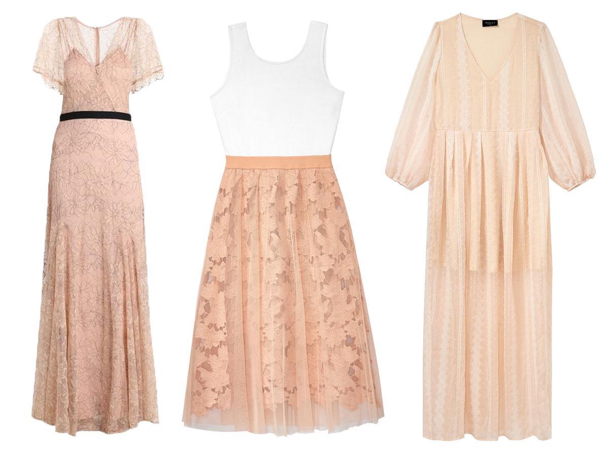 Sukienki koronkowe nude - modele z sieciówek