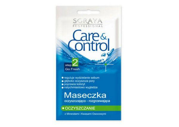 Maseczka oczyszczająco-rozgrzewajaca regulująca wydzielanie sebum i oczyszczajaca pory Care & Control, Soraya, cena: ok. 5 zł.