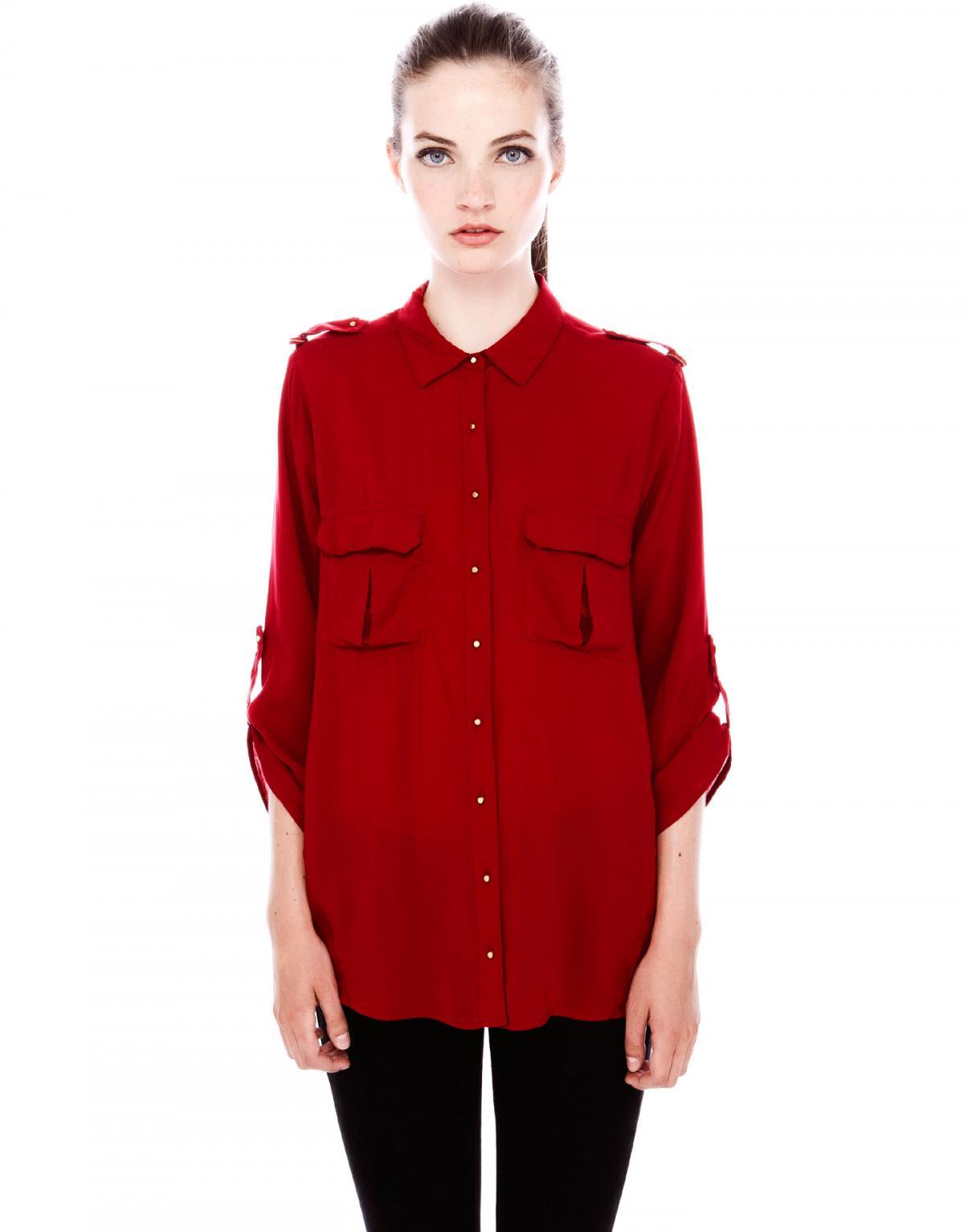 6cc87d26d1152 koszula Pull and Bear w kolorze bordowym - zimowa moda - Koszule i ...