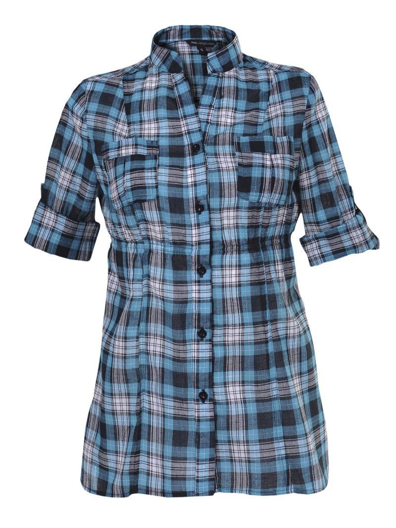 niebieska koszula Troll w kratkę - moda wiosna/lato