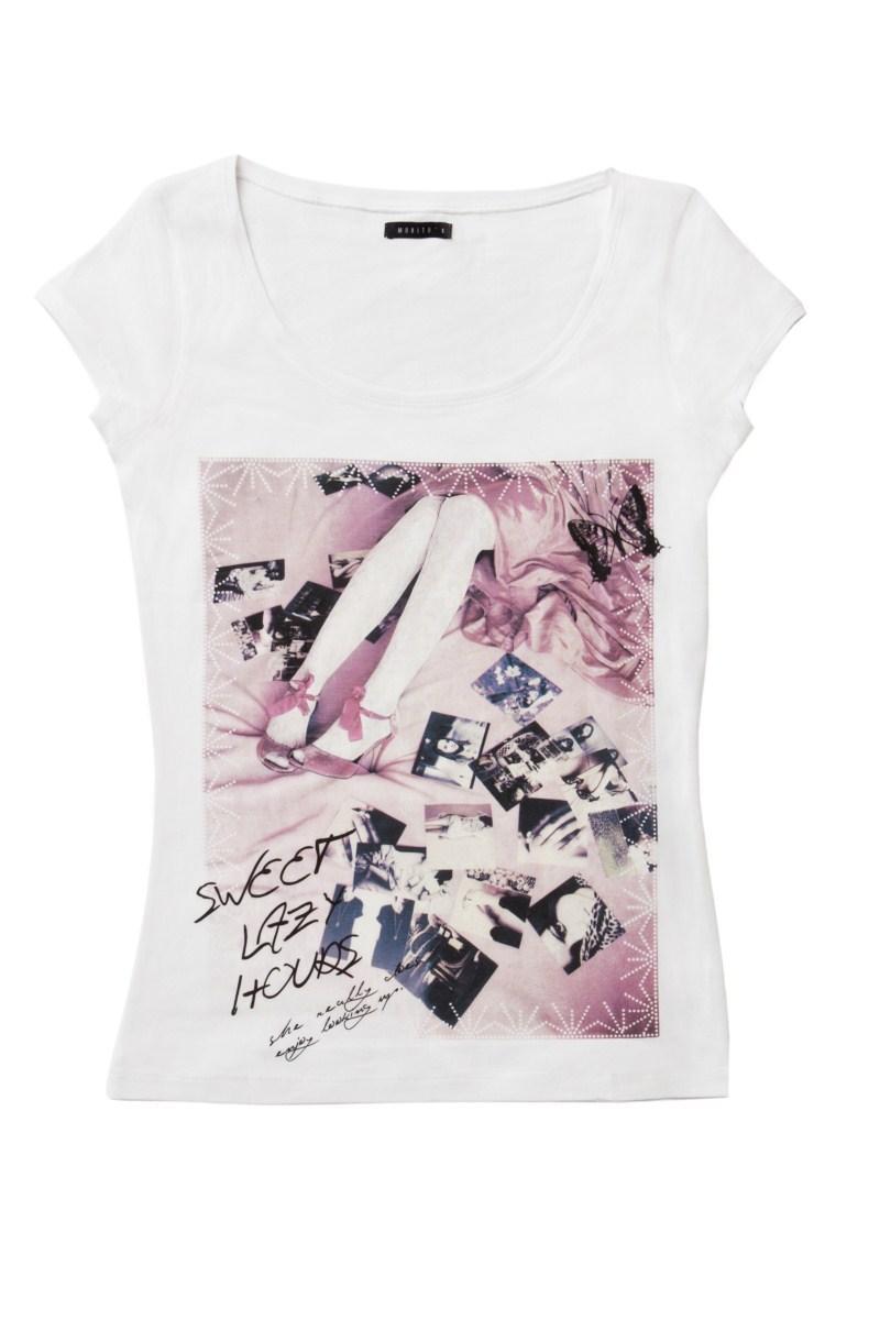 biała koszulka Mohito z aplikacją - lato 2011