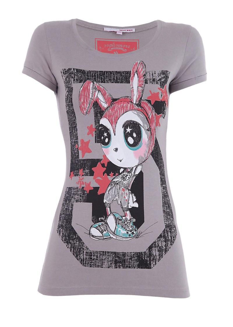 szara koszulka Tally Weijl z aplikacją - moda wiosna/lato