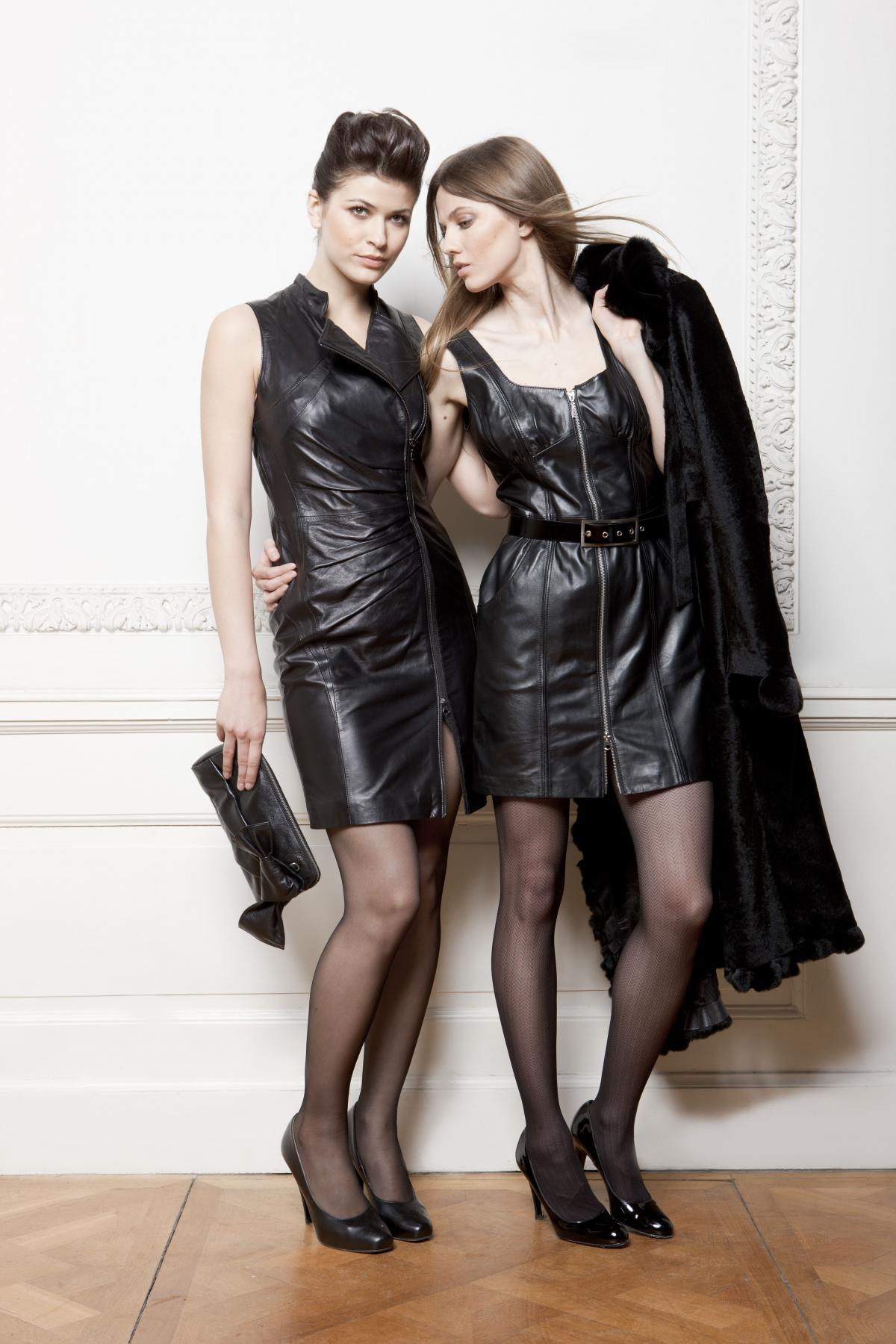czarna sukienka Ochnik ze skóry - kolekcja jesienno-zimowa