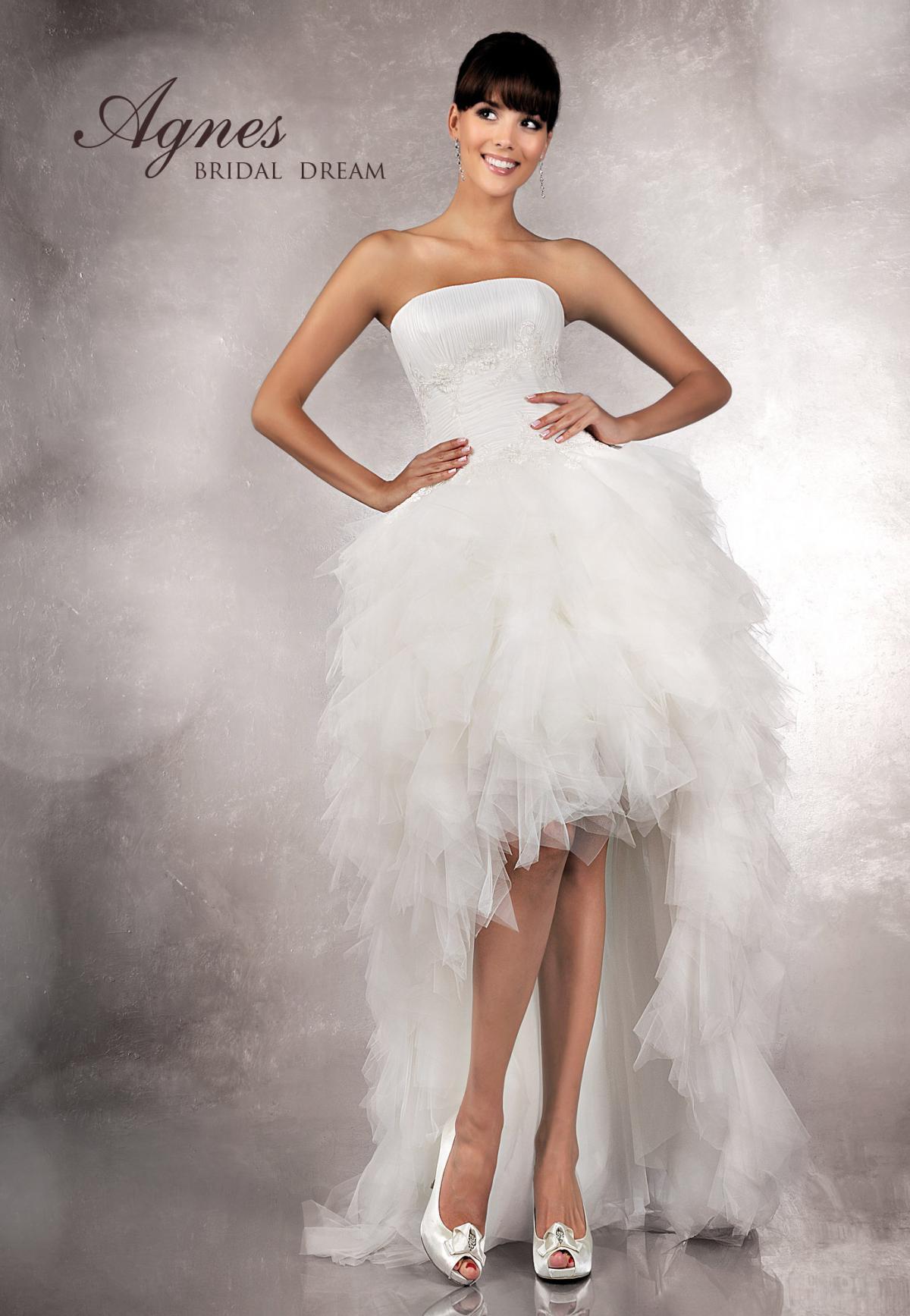 93da6d79ae suknia ślubna Agnes Bridal Dream z falbankami asymetryczna - Krótkie ...