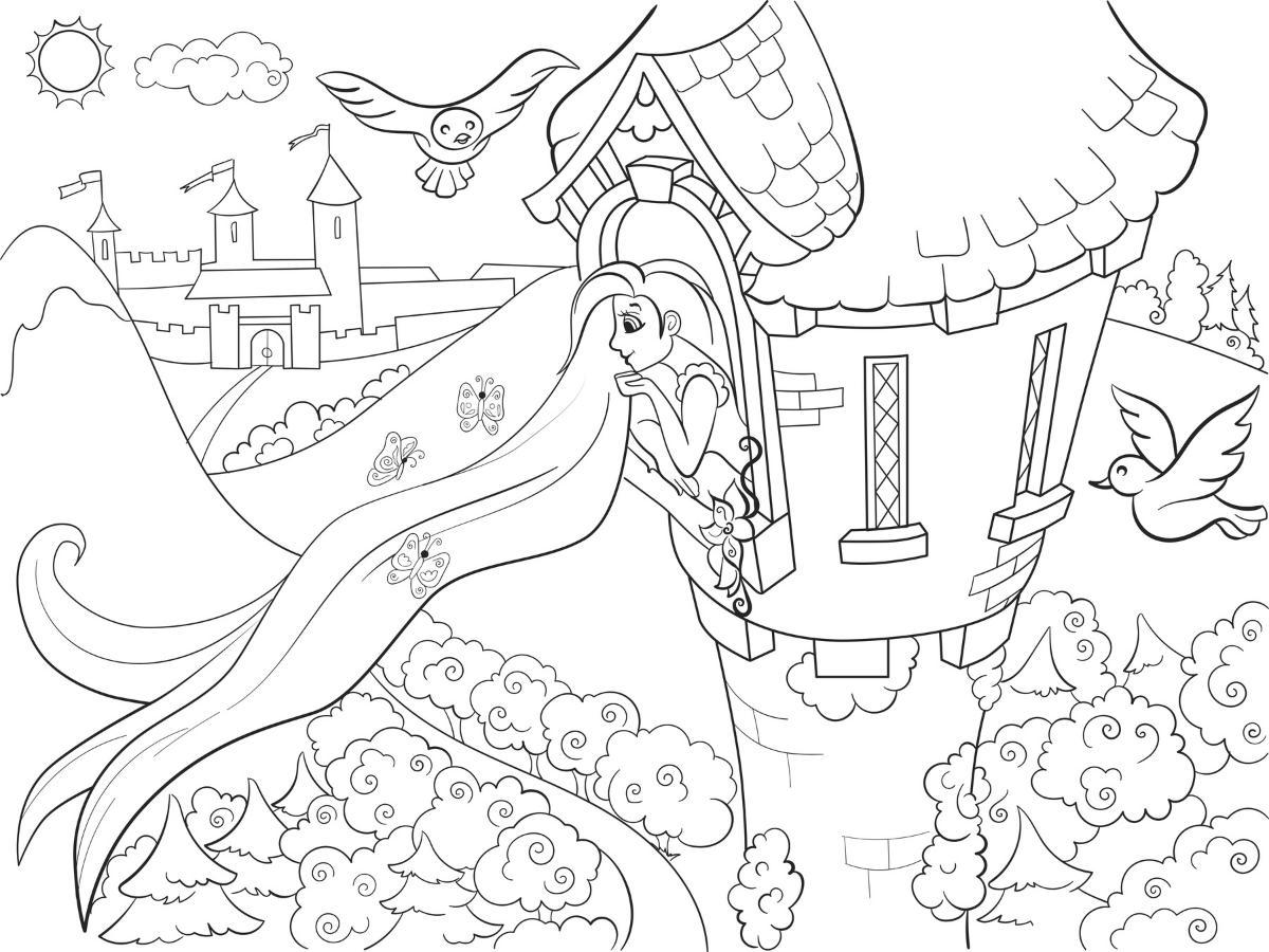 Kolorowanka księżniczka w wieży do druku