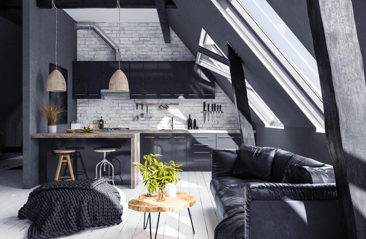 kuchnia w stylu loft z salonem