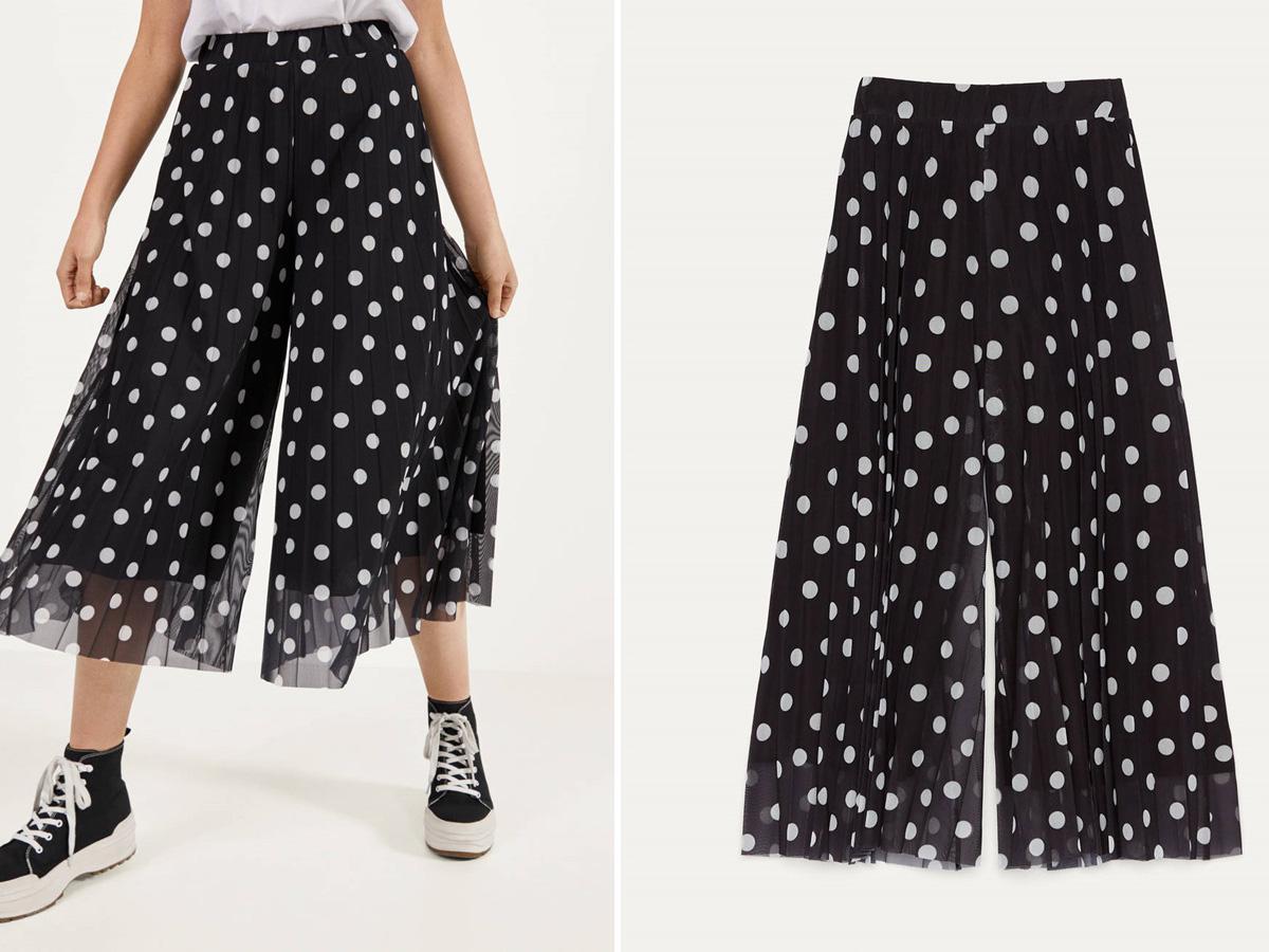 spodnie culottes w groszki Bershka