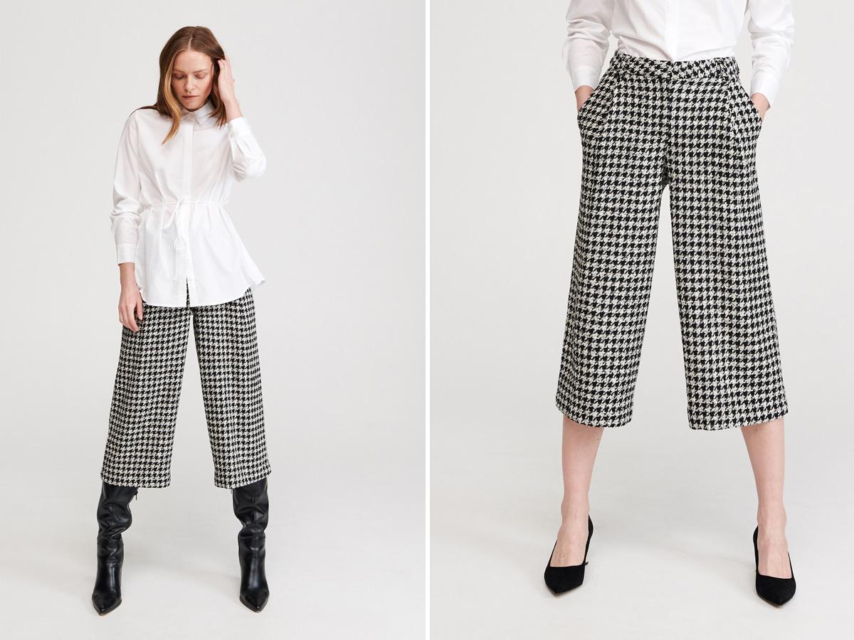 spodnie culottes w pepitkę Reserved