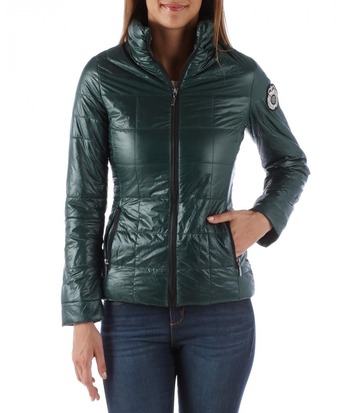 zimowa kurtka Camaieu w kolorze ciemnozielonym moda na