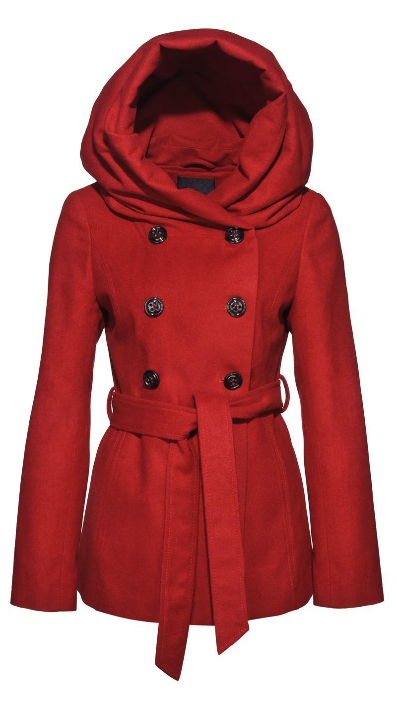 9bc755ab1ac18 czerwony płaszcz New Yorker z kapturem - kolekcja jesienno-zimowa ...