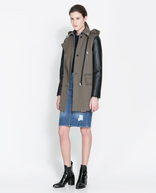 e876fe0d1f100 kurtka ZARA w kolorze khaki ze skórzanymi rękawami - moda 2013/14 ...