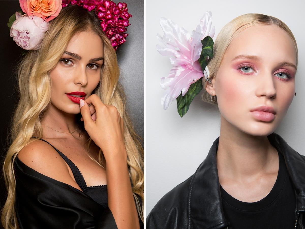Modne fryzury 2019 - ozdoby z kwiatów