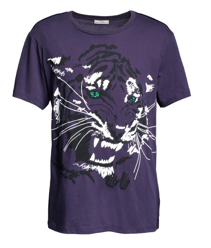 fioletowy t-shirt H&M - moda zimowa