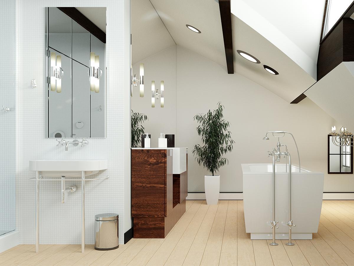 łazienka na poddaszu glamour