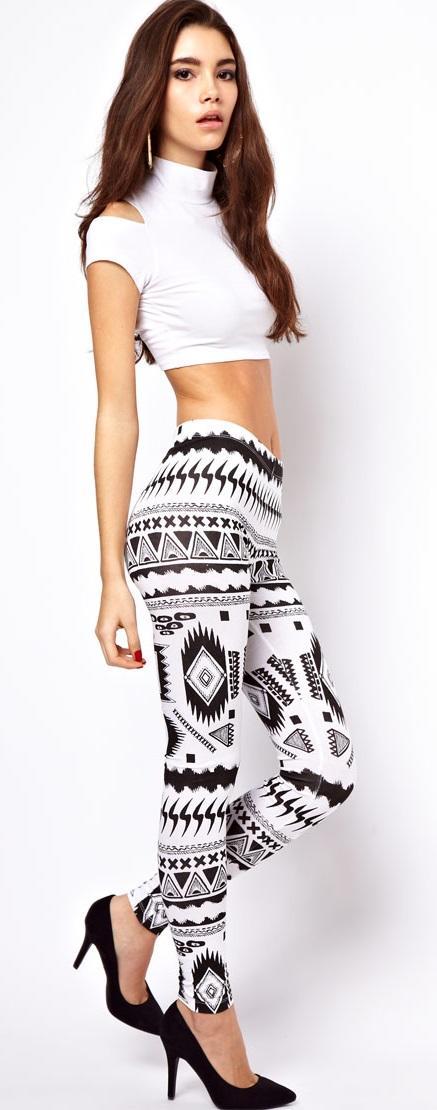 biało-czarne legginsy Asos - wiosna-lato 2013