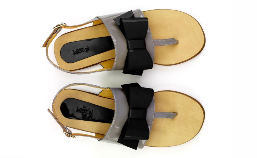 szare sandałki loft37.pl z kokardą - moda na lato