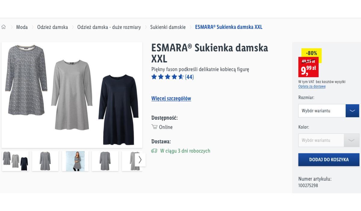 Sukienka wiskozowa Lidl za 9 zł