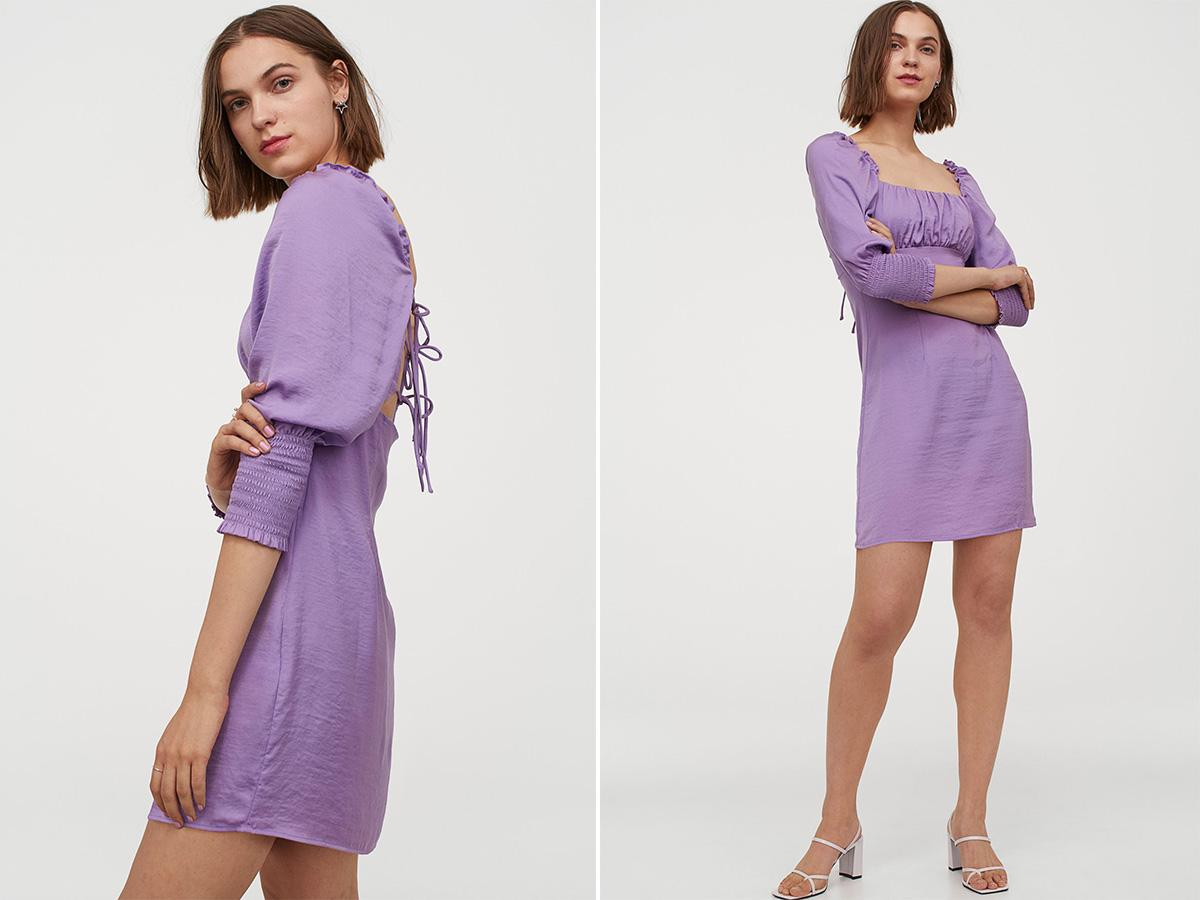 lilowa sukienka z H&M