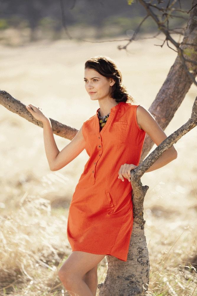 pomarańczowa sukienka Lidl - modny len