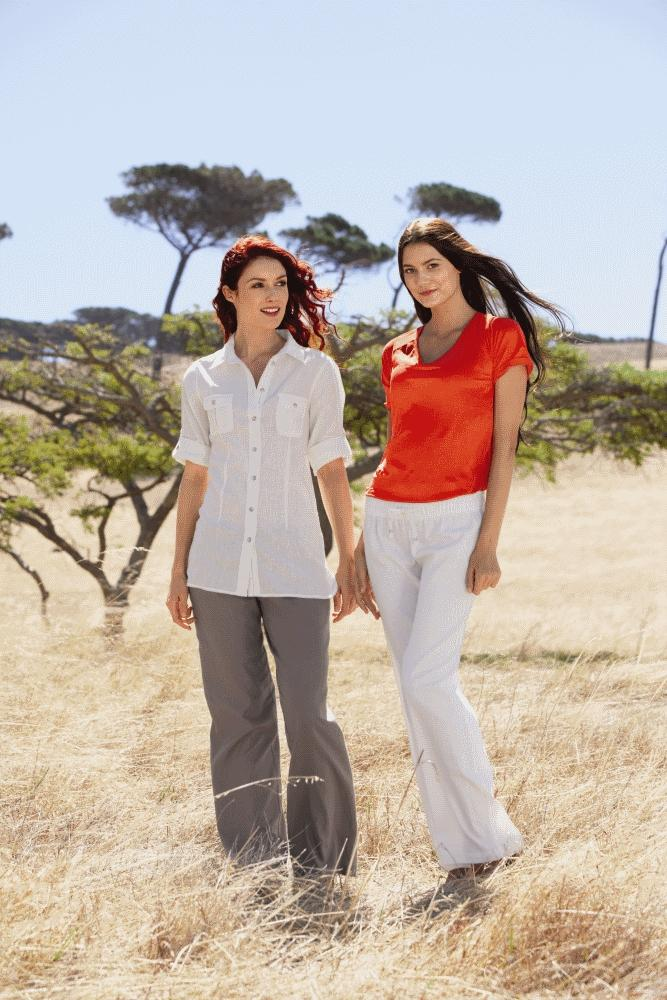 białe spodnie Lidl - lniania kolekcja