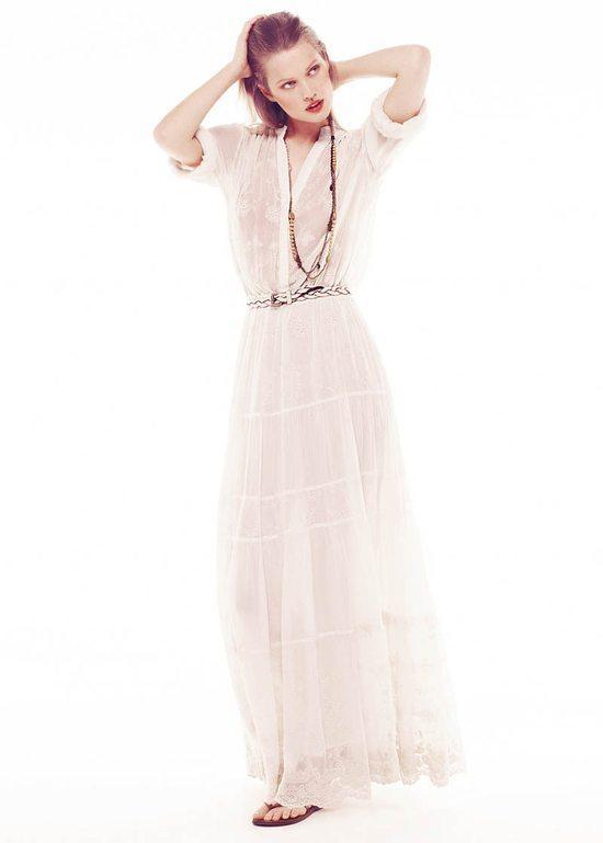 długa sukienka Mango w kolorze białym - lato 2013