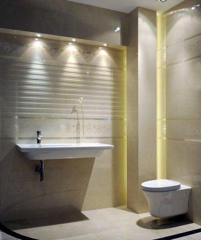 Unikalna łazienka w kolorze ecru -inspiracje do łazienki