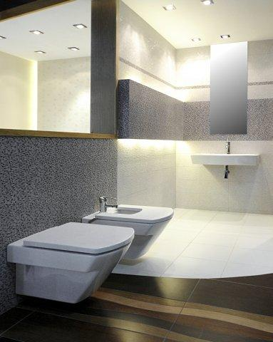 Nowoczesna łazienka w kolorze wzorzystej szarości i ecru -trendy 2013