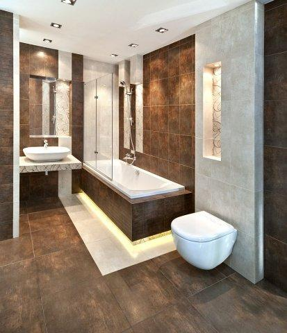 Nowoczesna łazienka W Kolorze Przydymionego Brązu