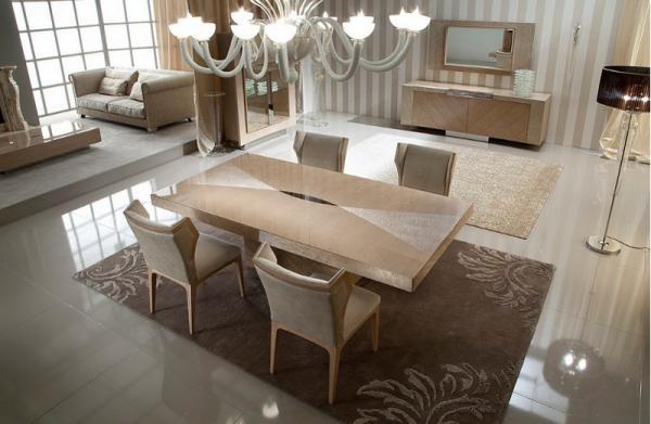 Nowoczesny stolik jadalny w kolorze kremowym  - aranżacja jadalni